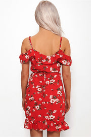 Poppy Red Wrap Frill Dress