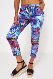 Purple Floral Crop Trousers