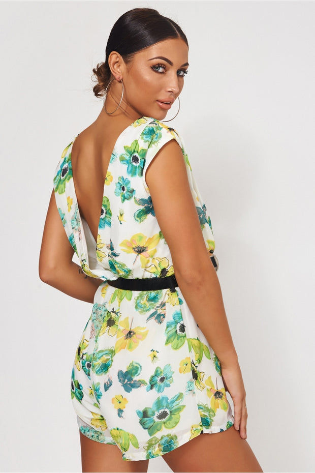 Soki Green Chiffon Floral Playsuit