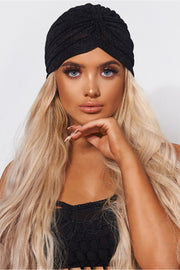 Black Shimmer Twist Hat