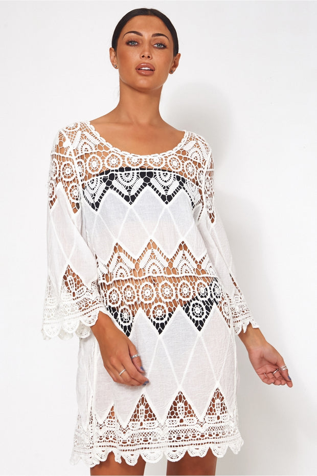 White Crochet Cover Up