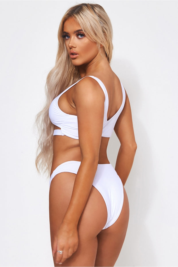 Greco White Mini Buckle Bikini