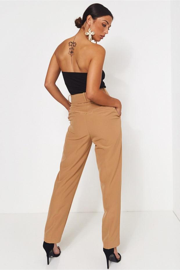 Nina Camel High Waisted Cigarette Trousers