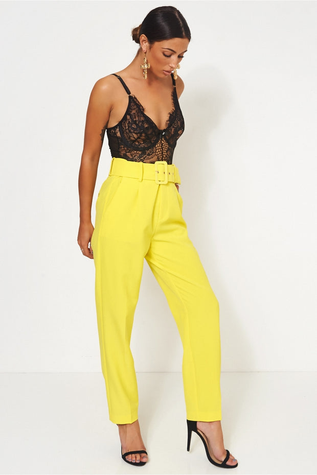 Nina Yellow High Waisted Cigarette Trousers