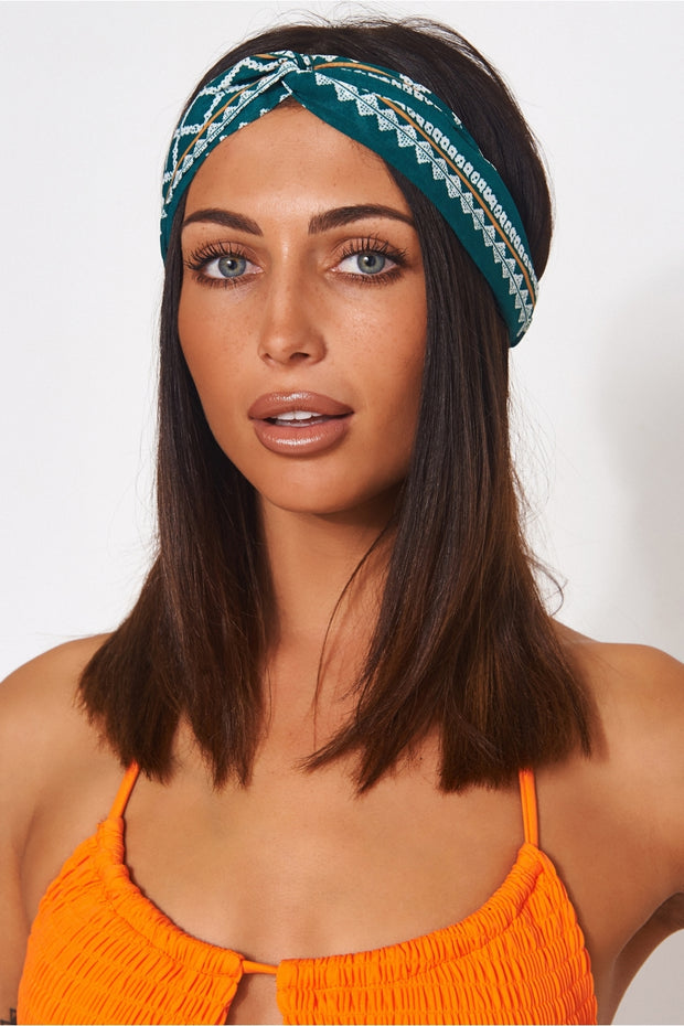 Green Aztec Headband