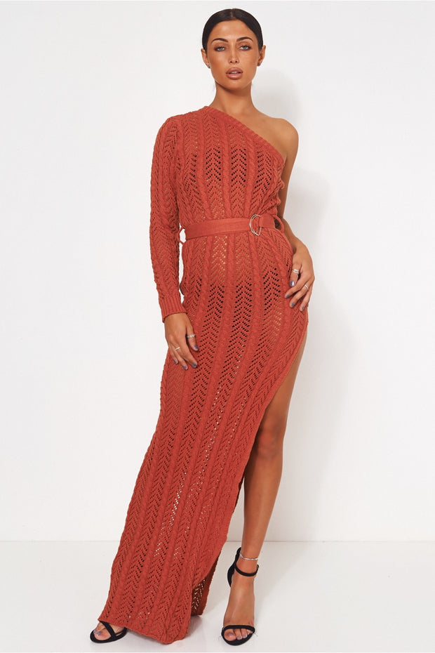 Tall Collection Shalini Rust One Shoulder Maxi Dress
