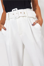 Nina White High Waisted Cigarette Trousers