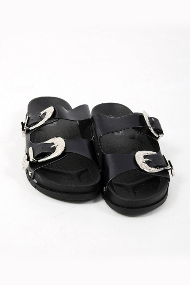 Double Buckle Black Western Sliders
