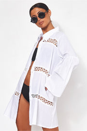 White Oversized Beach Shirt