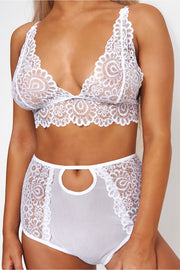 White High Waisted Lace Lingerie Set