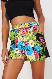 Macy Black Floral Shorts