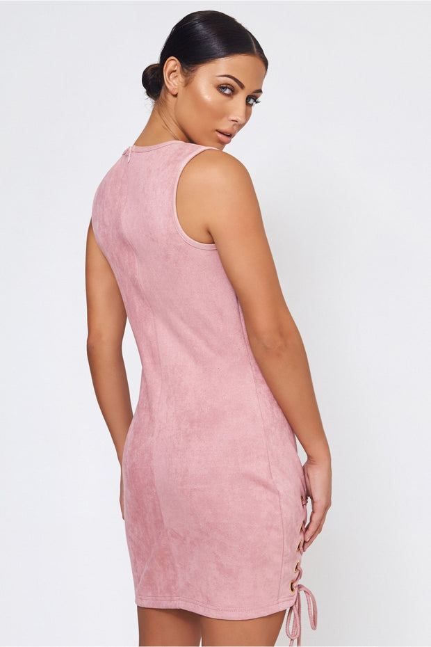 Pink Suede Lace Up Dress