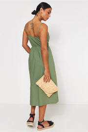 Lois Khaki Button Up Midi Dress