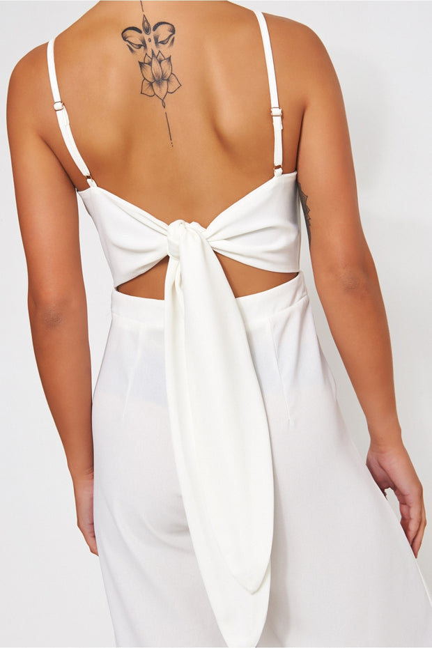 Idra White Tie Back Jumpsuit