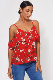 Poppy Red Floral Bardot Frill Top