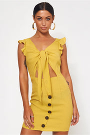 Lula Mustard Tie Front Button Dress