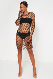 Black Crochet Beaded Cover Up