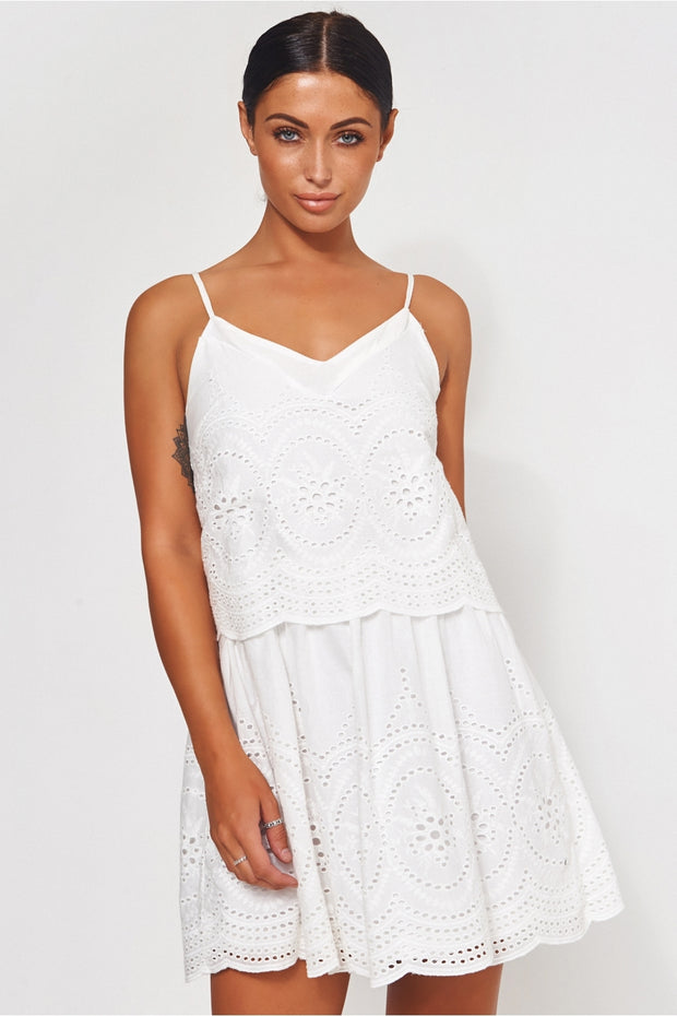 Parisia White Broderie Anglaise Slip Dress