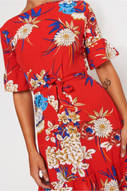 Red Floral Shift Dress