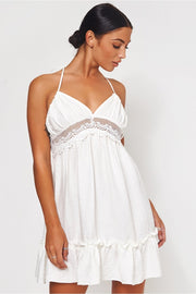 Carlo White Crochet Backless Dress