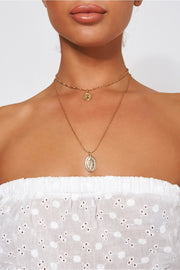 Gold Overlay Virgin Mary Necklace