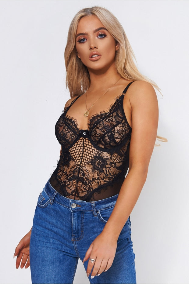 Anya Underwired Black Lace Bodysuit