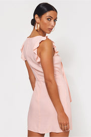 Lula Pink Tie Front Button Dress