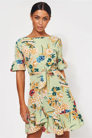 Green Floral Shift Dress