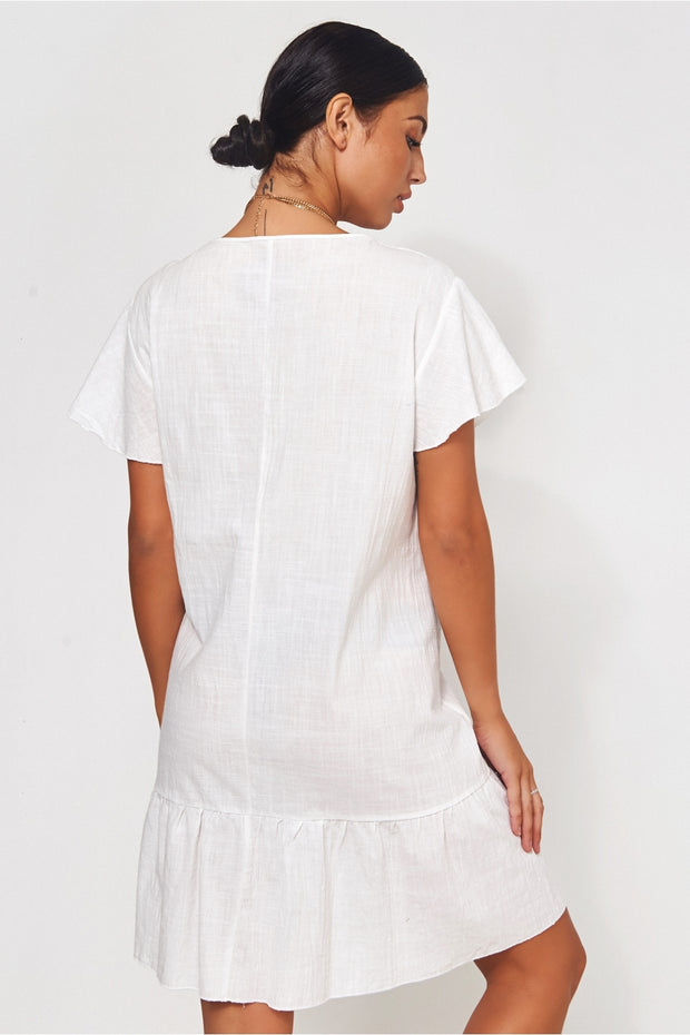 Shilo White Button Down Shift Dress