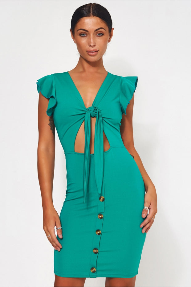 Sharla Green Tie Front Midi Dress