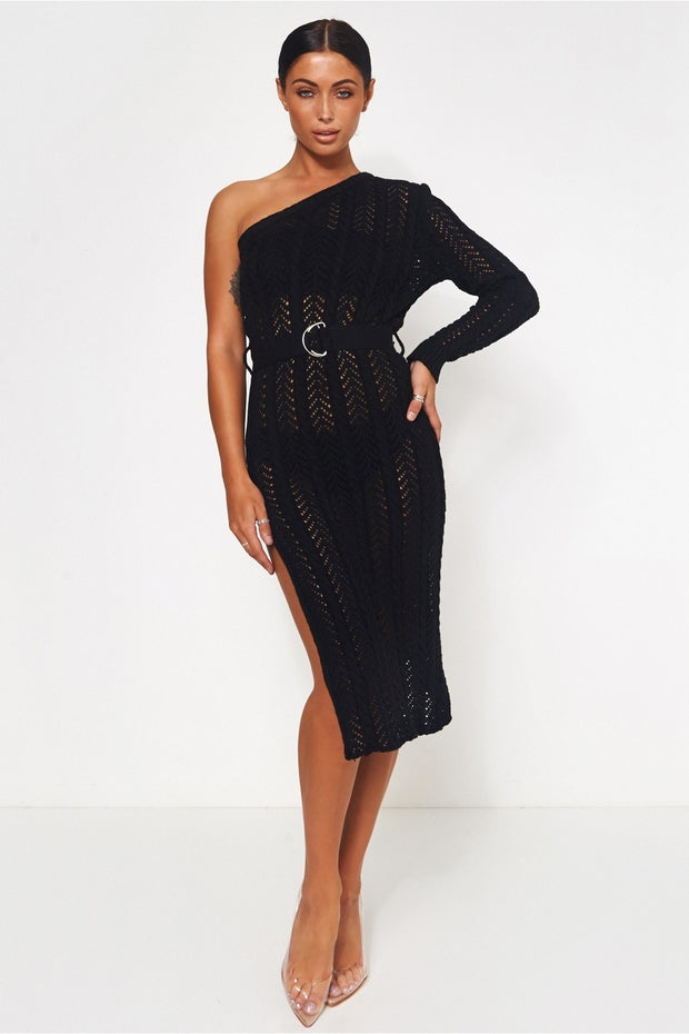 Cici Black Split Crochet Midi Dress