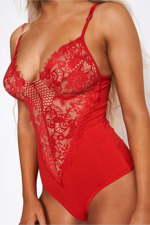 Red Lace Bodysuit