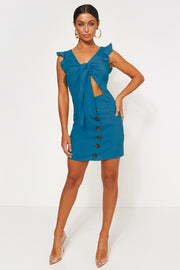 Lula Blue Tie Front Button Dress