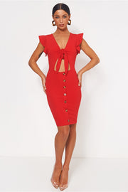 Sharla Red Tie Front Midi Dress