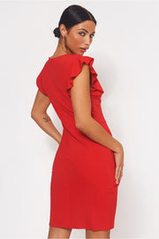 Lulu Red Tie Front Midi Dress