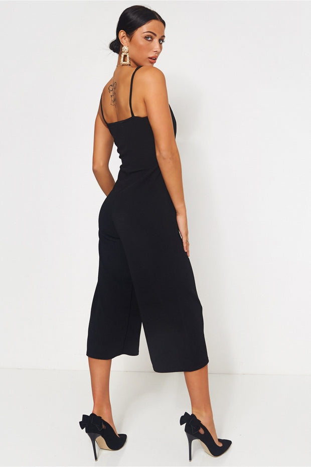 Black Button Front Cropped Leg Jumpsuit