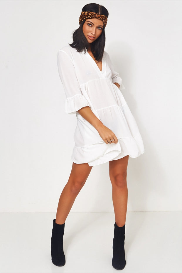 Gigi White Smock Dress