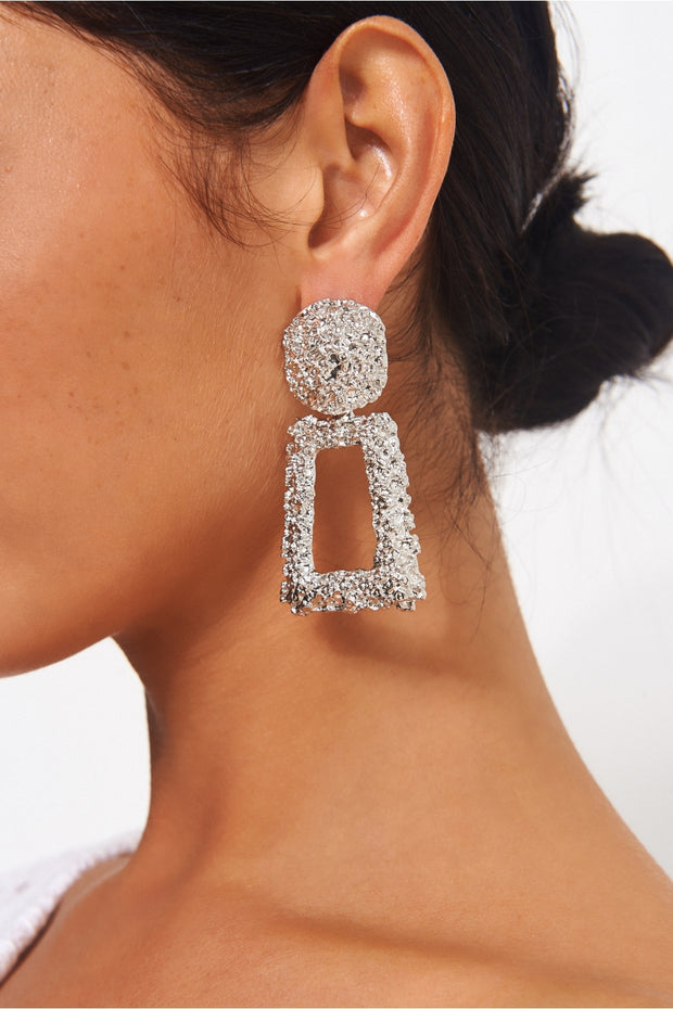 Geo Silver Statement Earrings