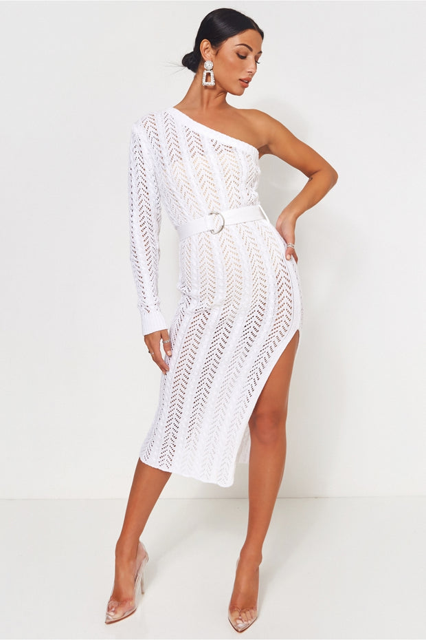 Cici White Crochet Bodycon Dress