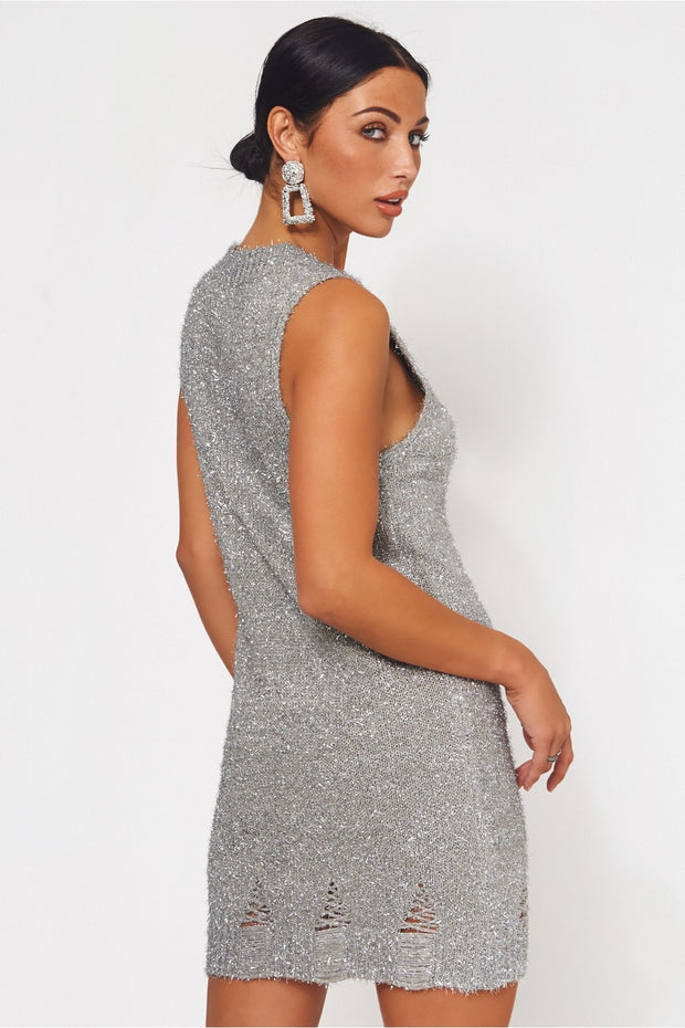Nilu Distressed Silver Lurex Knitted Dress
