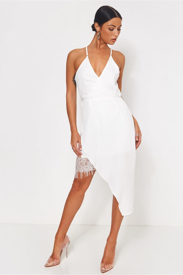 Montage White Lace Trim Midi Dress