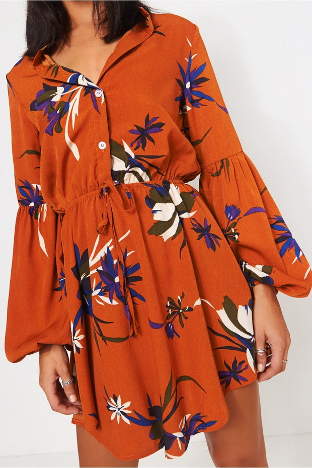 Rust Floral Mini Shirt Dress