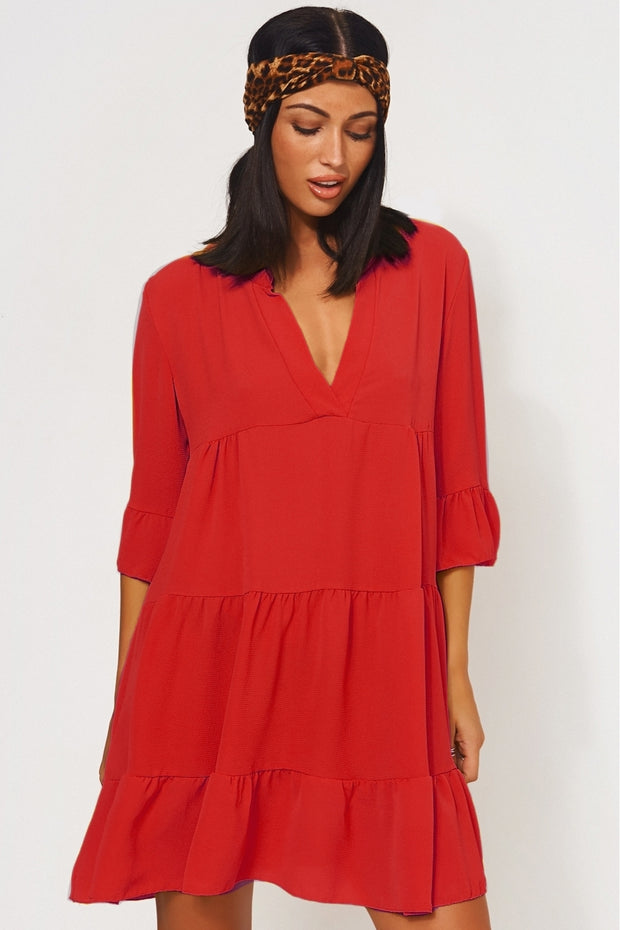Gigi Red Smock Dress