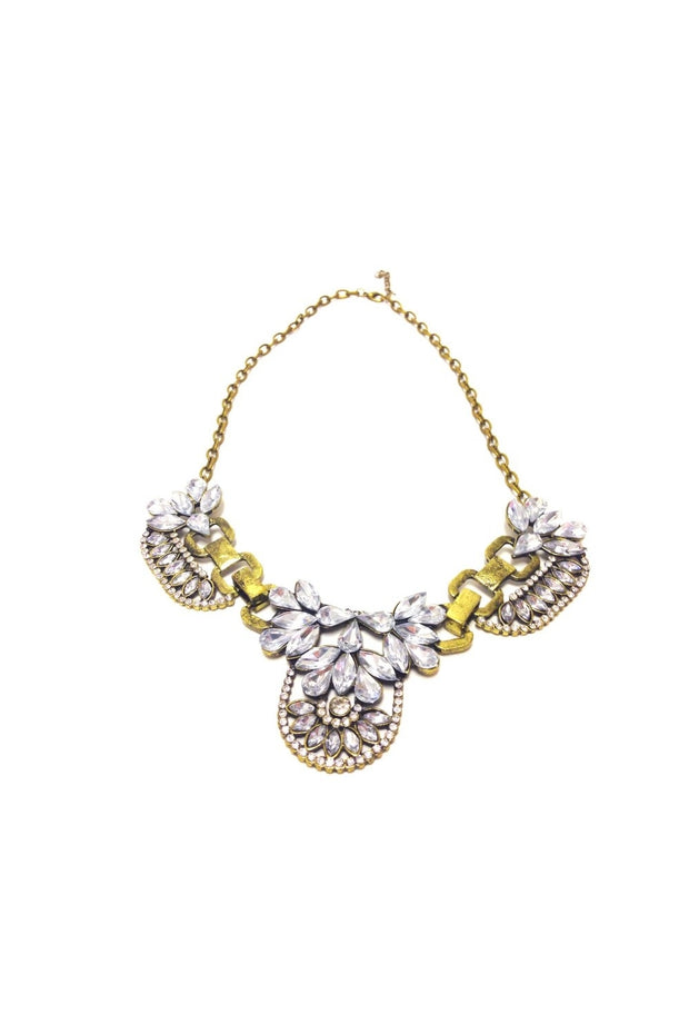 Vintage Crystal Cluster Statement Necklace