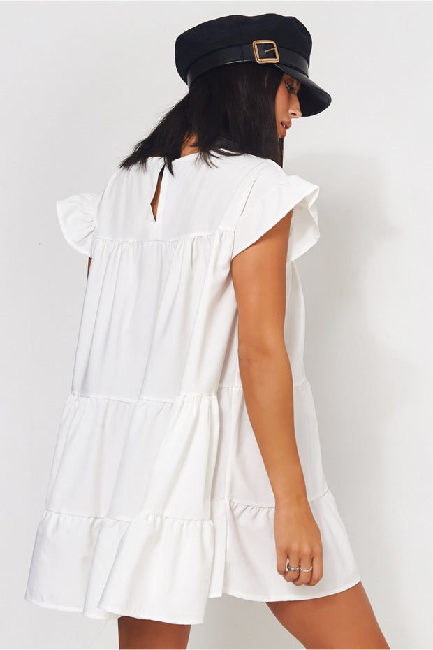Luca Petite White Frill Smock Dress