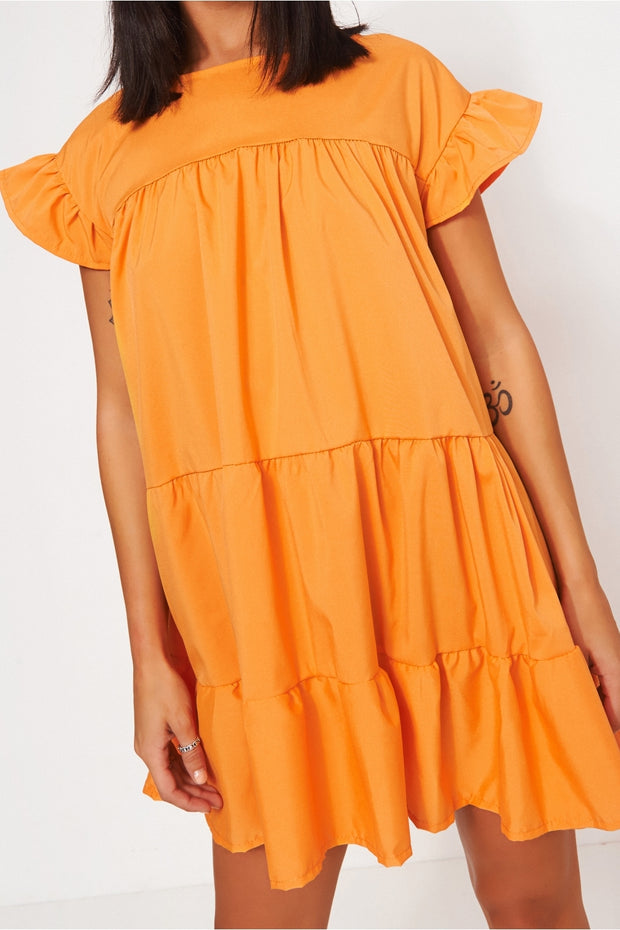 Luca Petite Orange Frill Smock Dress