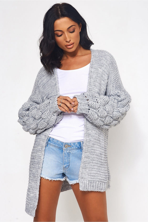 Alessa Grey Pom Sleeve Cardigan
