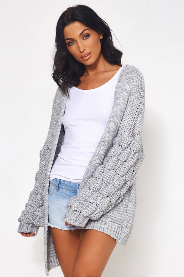 Alessa Chunky Knit Oversized Grey Pom Sleeve Cardigan