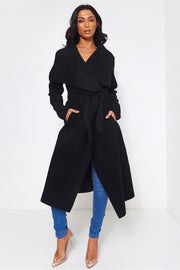 Khloe Black Waterfall Coat