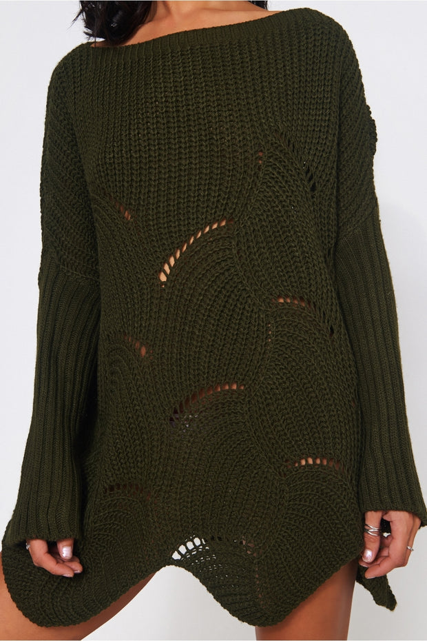 Eloise Khaki Ribbed Sleeve Jumper